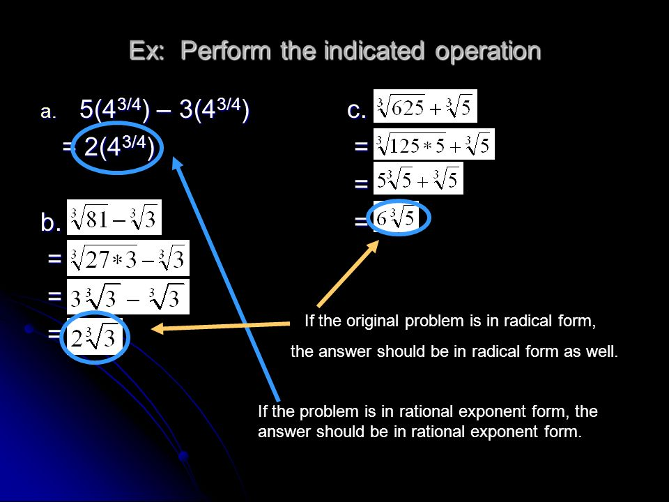 Ex: Perform the indicated operation
