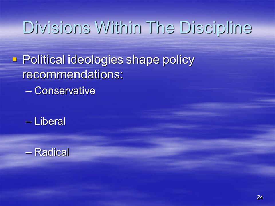 Divisions Within The Discipline