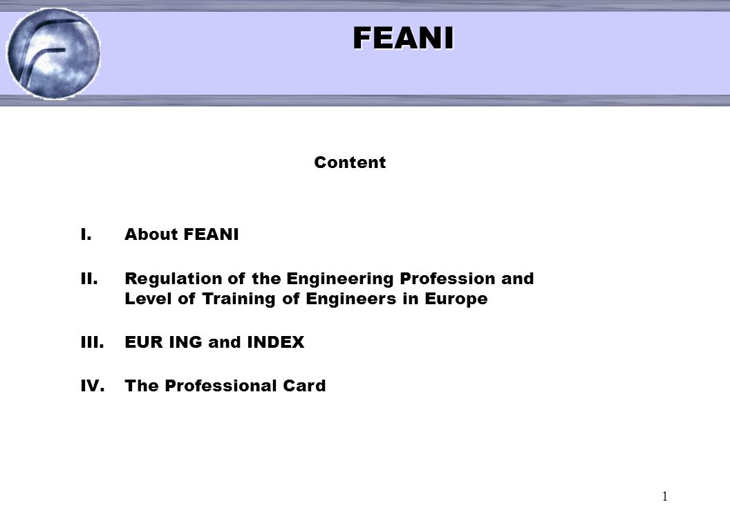 FEANI < Content About FEANI