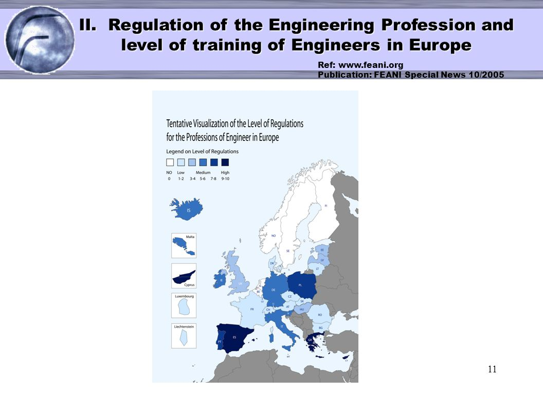 < II. Regulation of the Engineering Profession and level of training of Engineers in Europe.