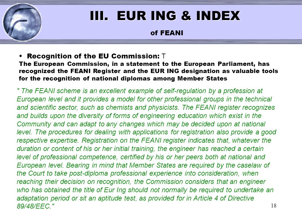III. EUR ING & INDEX of FEANI
