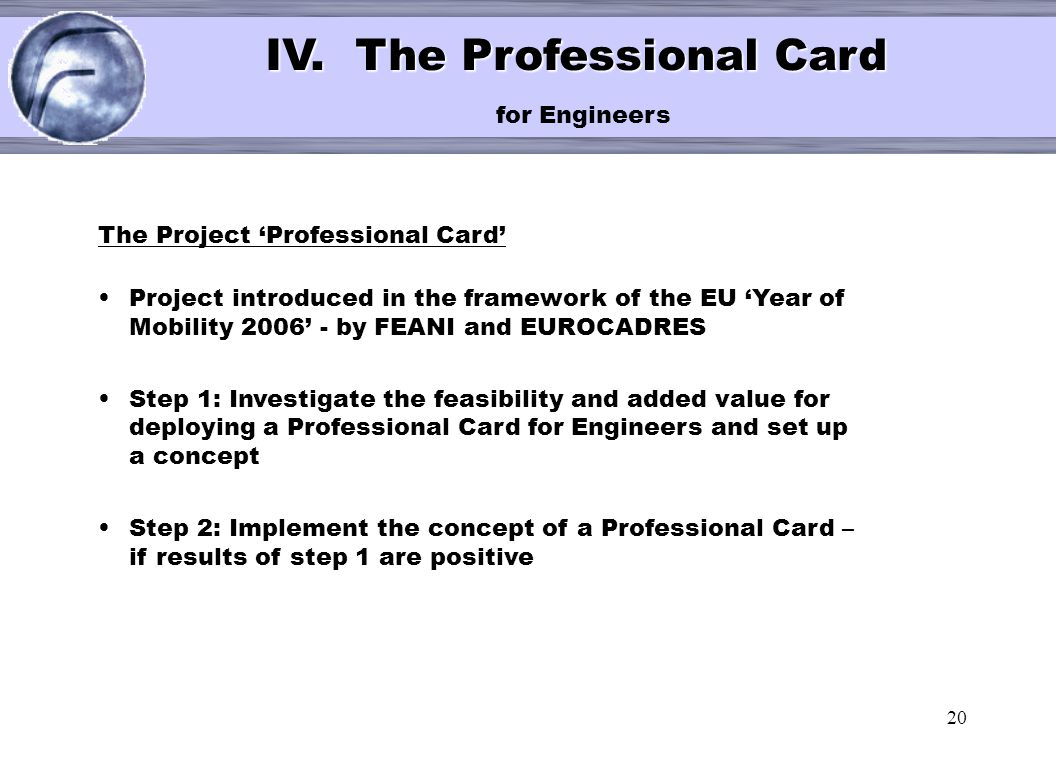 IV. The Professional Card for Engineers