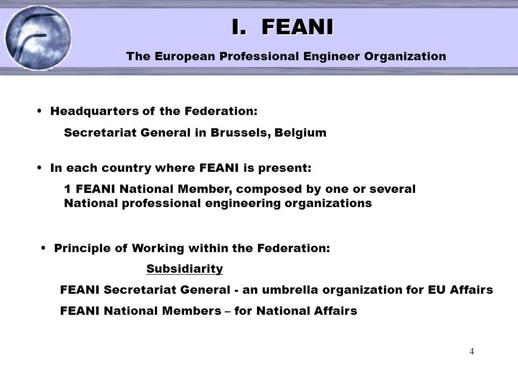 I. FEANI The European Professional Engineer Organization