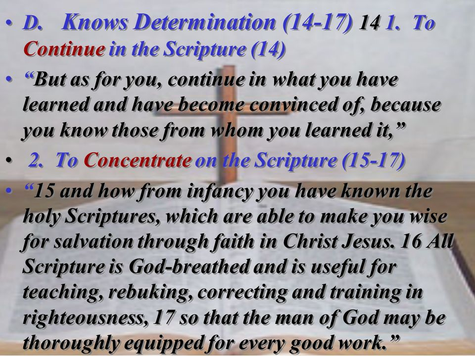D. Knows Determination (14-17) To Continue in the Scripture (14)