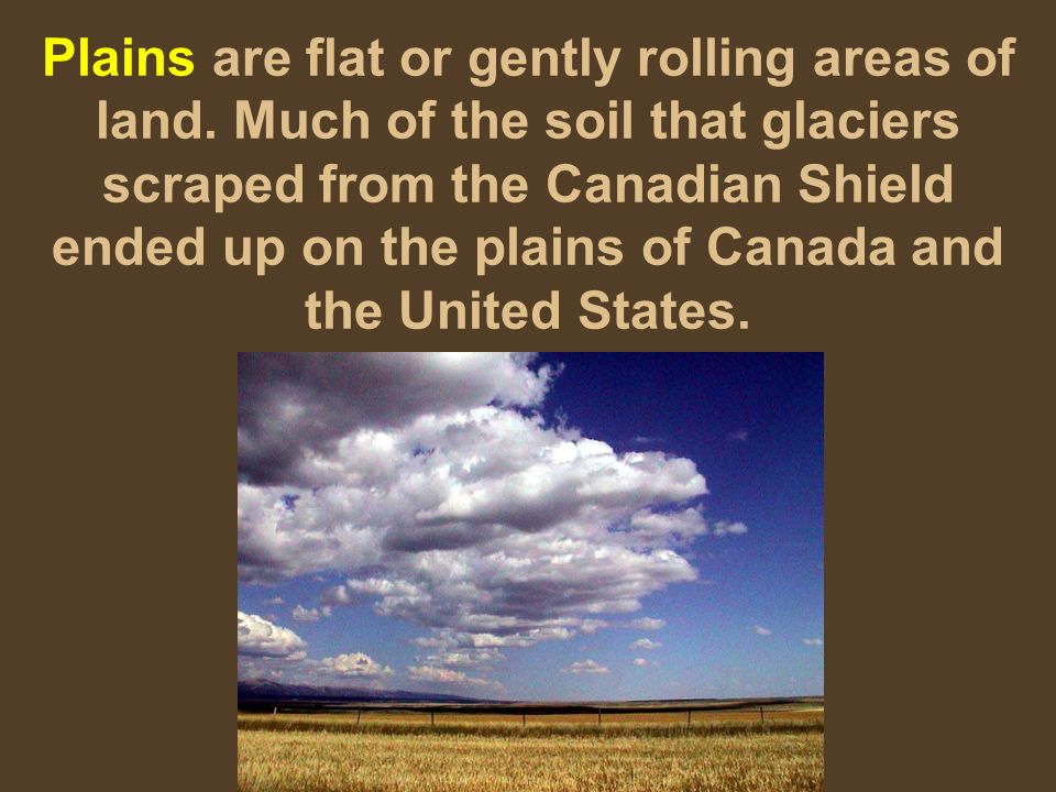 Plains are flat or gently rolling areas of land