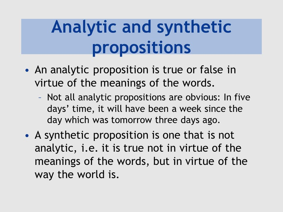 Analytic and synthetic propositions