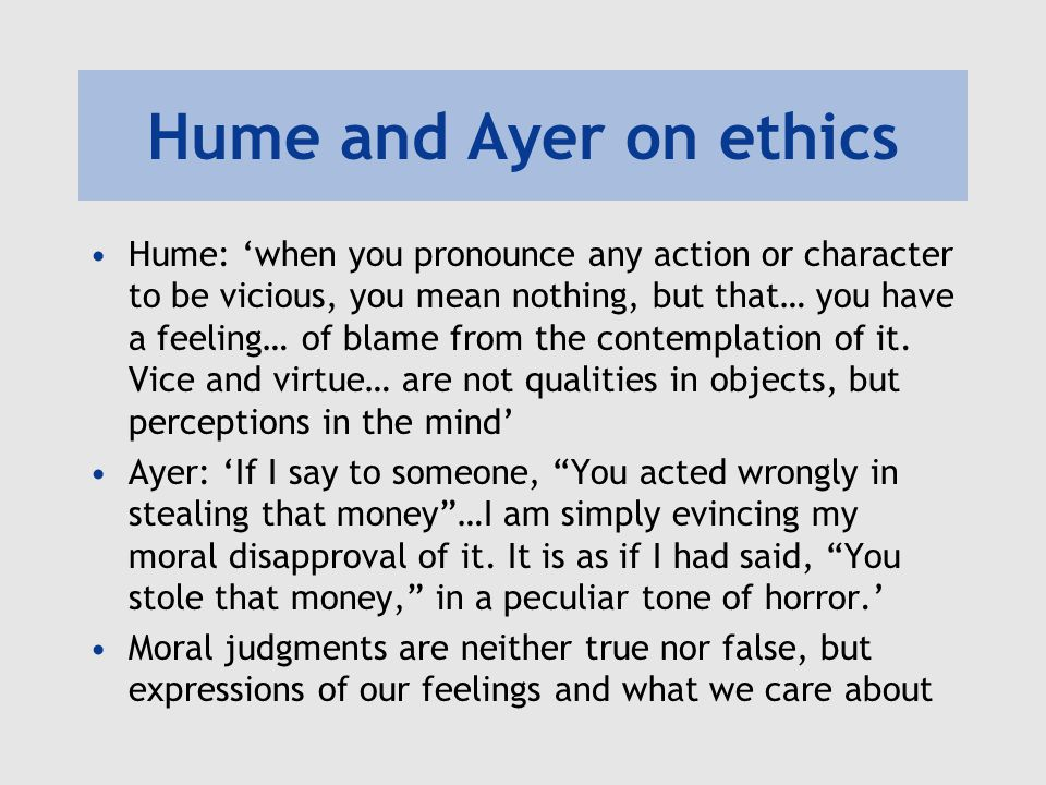 Hume and Ayer on ethics