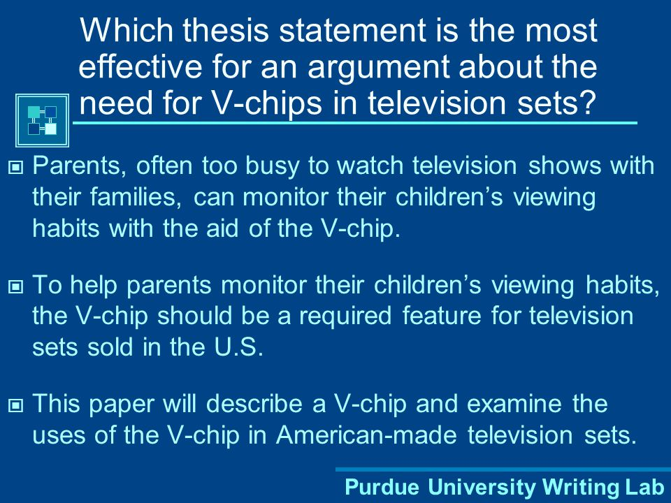 Which thesis statement is the most effective for an argument about the need for V-chips in television sets