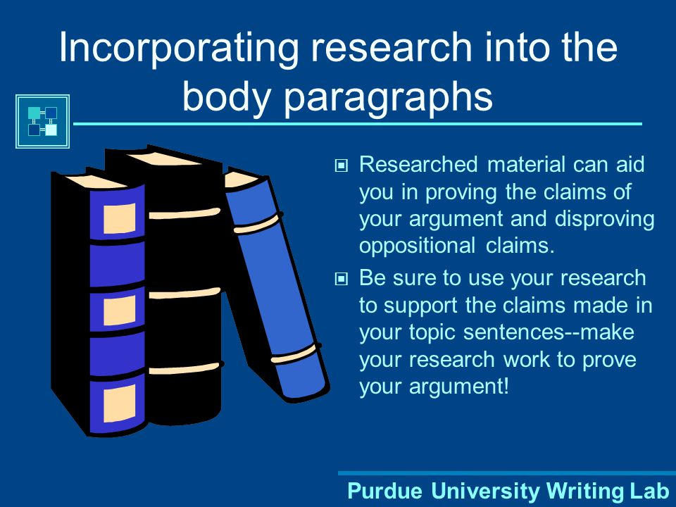 Incorporating research into the body paragraphs