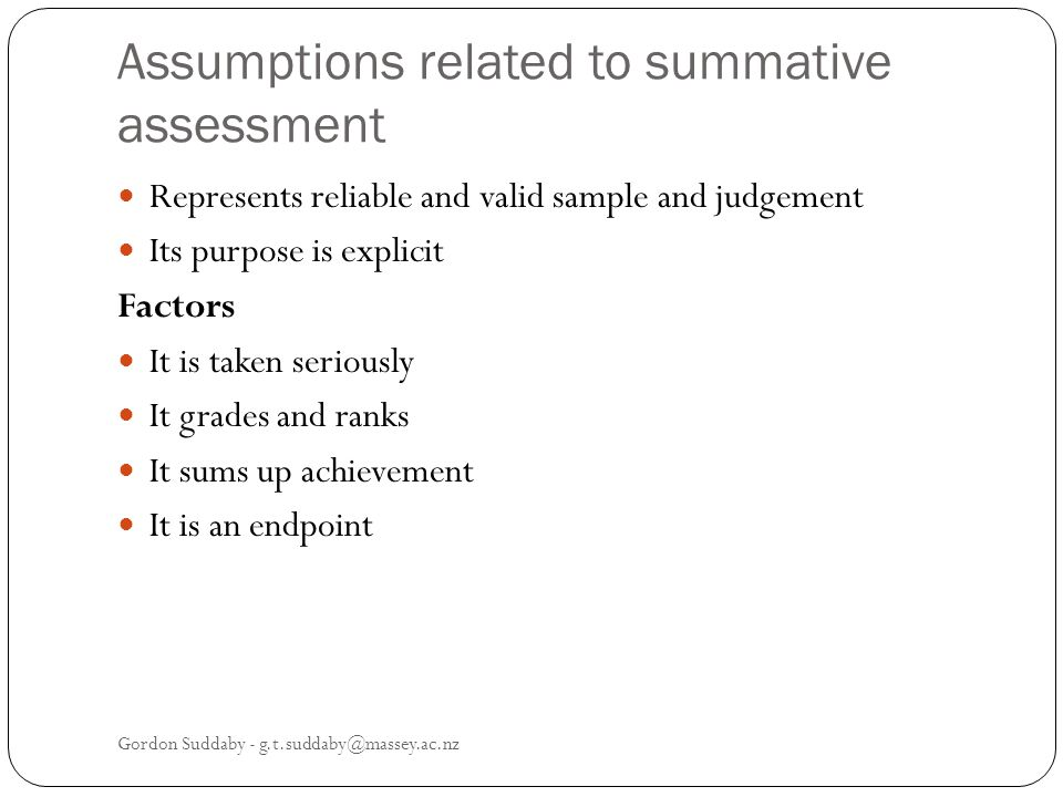 Assumptions related to summative assessment