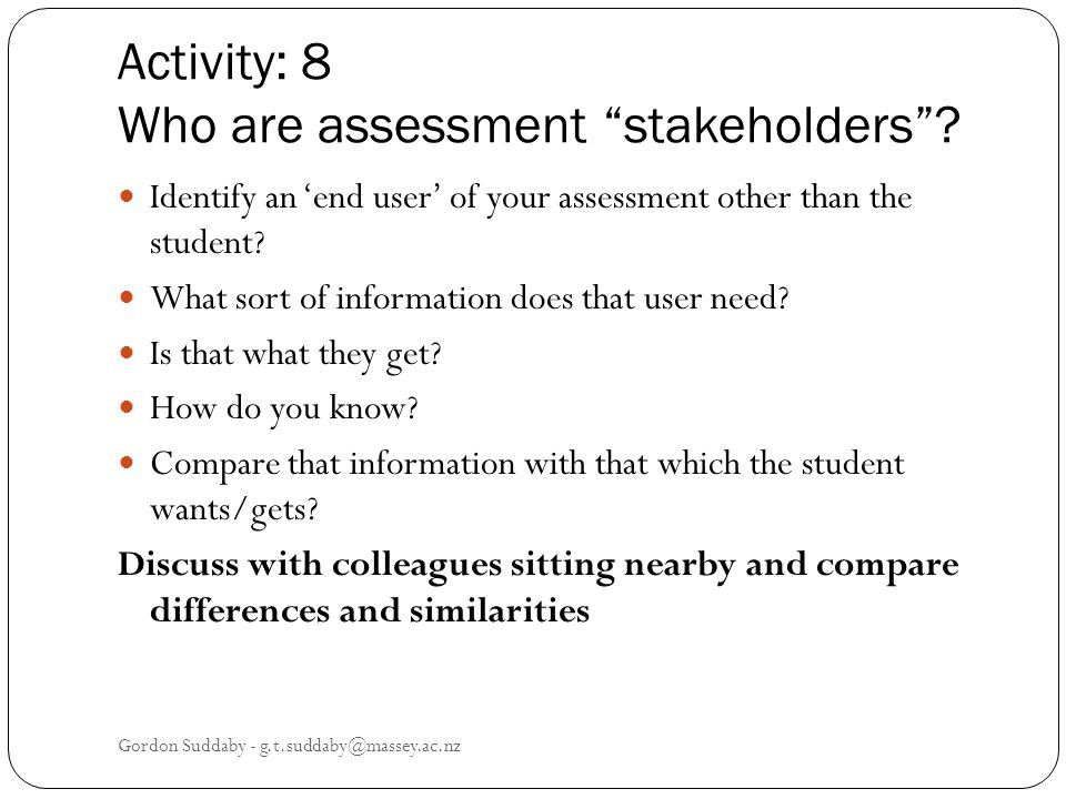 Activity: 8 Who are assessment stakeholders