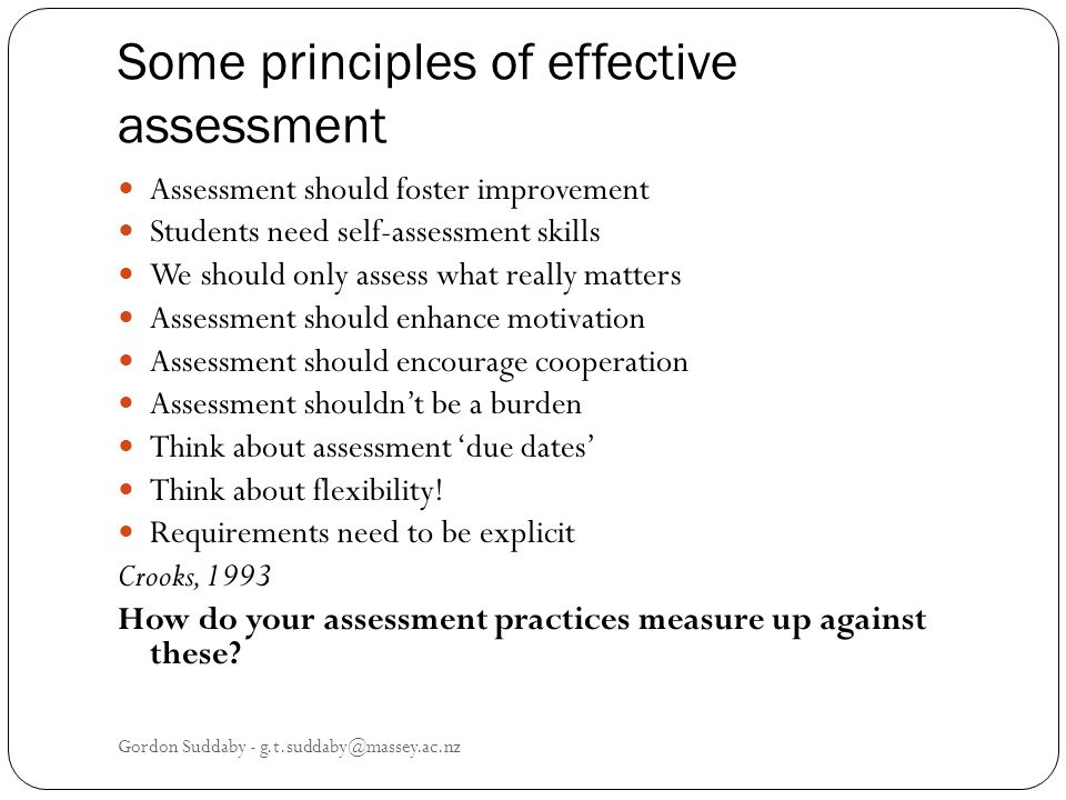Some principles of effective assessment