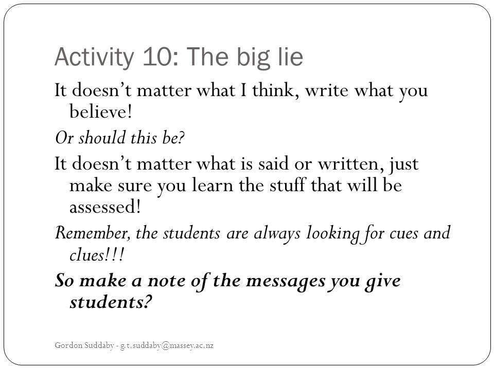 Activity 10: The big lie
