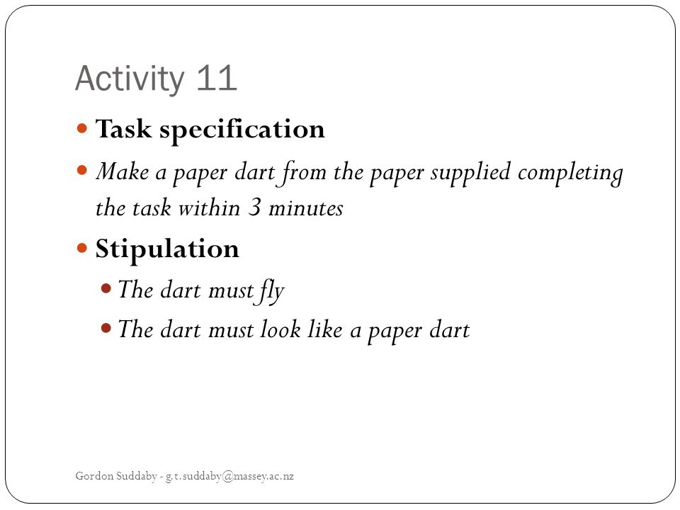 Activity 11 Task specification