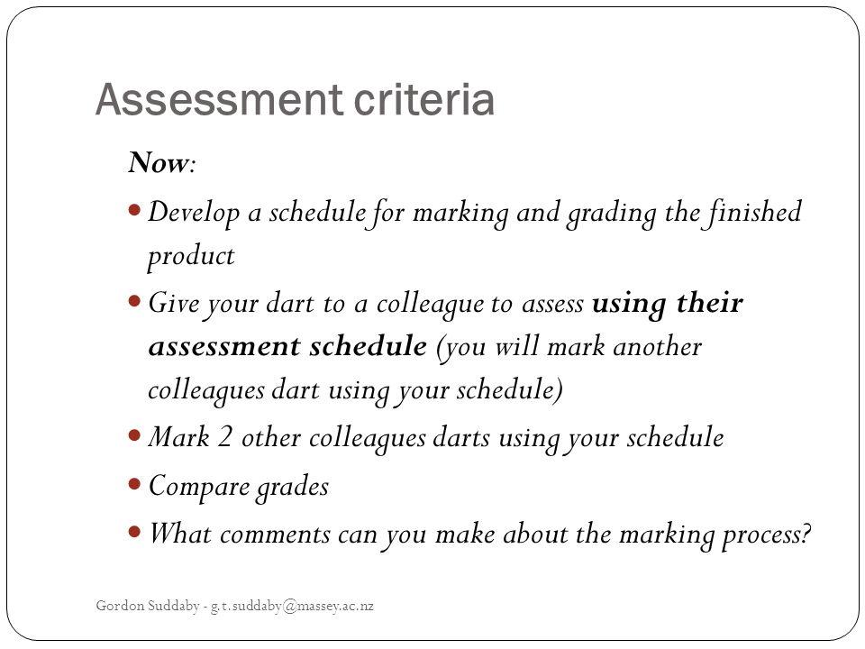 Assessment criteria Now: