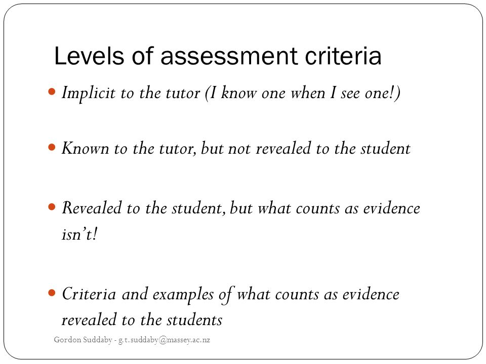Levels of assessment criteria