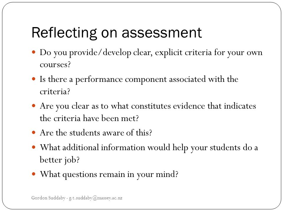 Reflecting on assessment