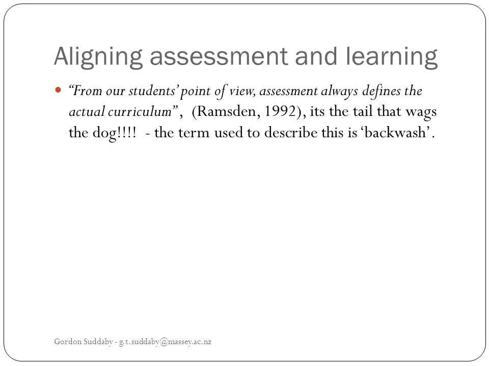 Aligning assessment and learning