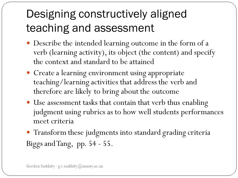 Designing constructively aligned teaching and assessment
