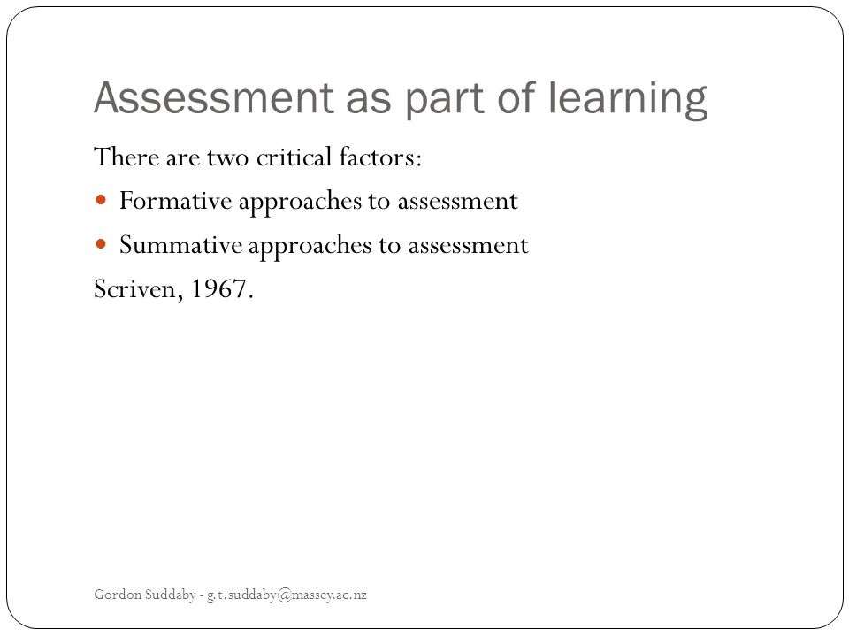 Assessment as part of learning