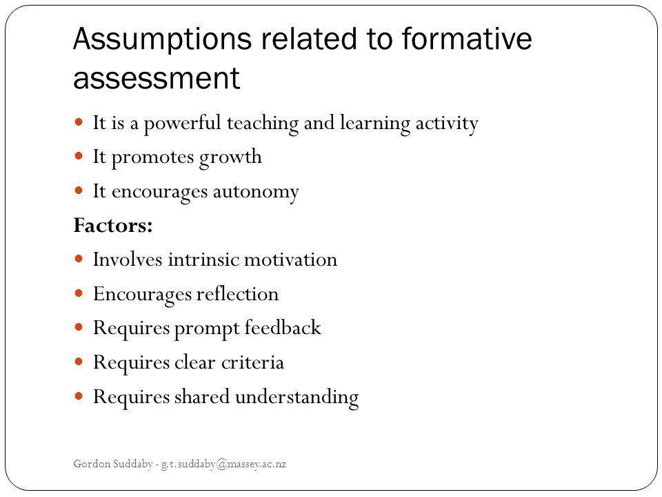 Assumptions related to formative assessment