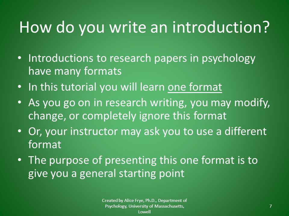 How do you write an introduction