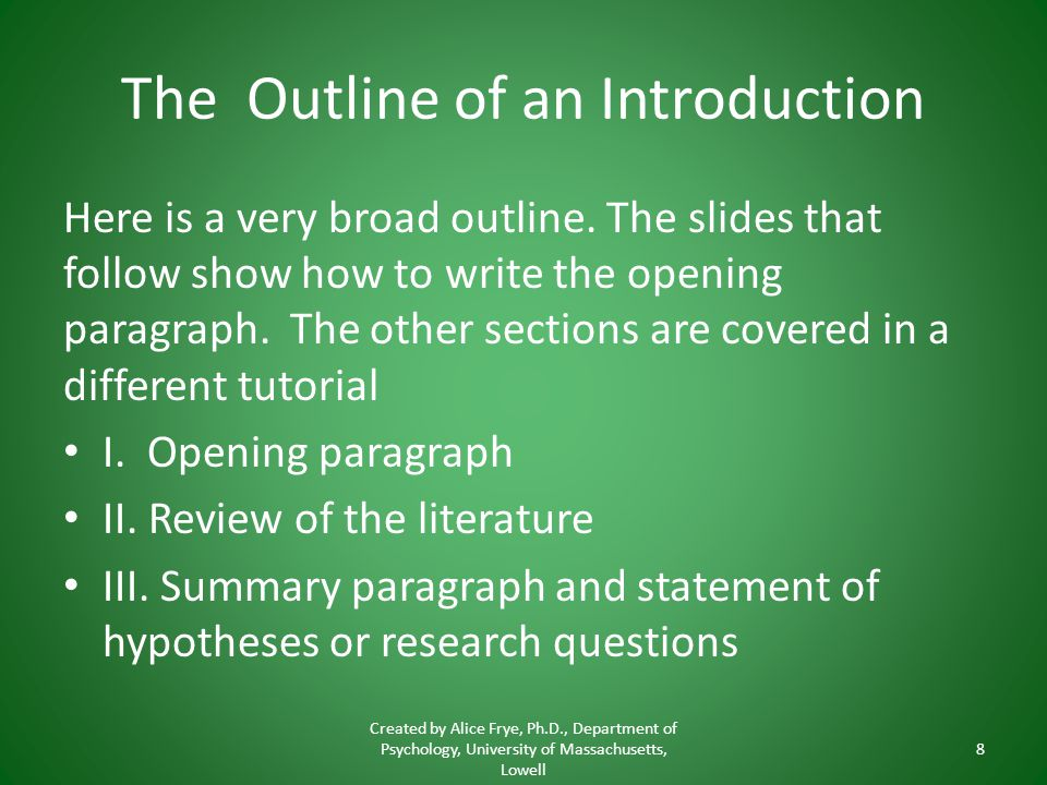 The Outline of an Introduction