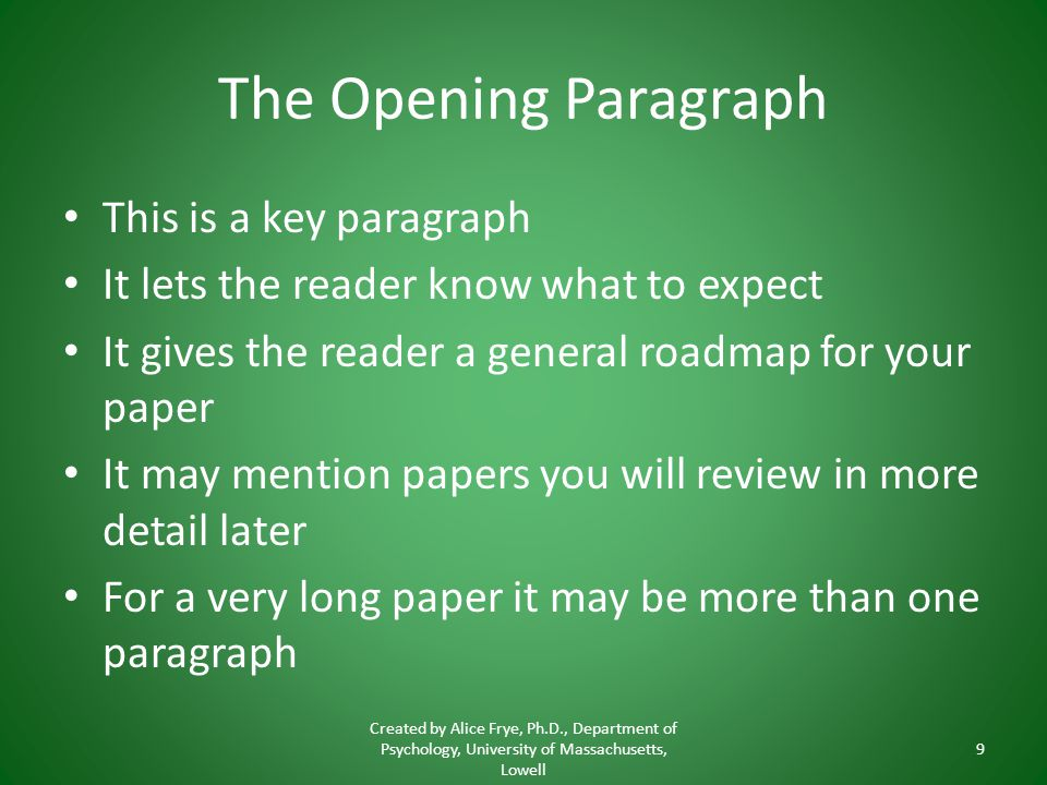 how to write an opening paragraph