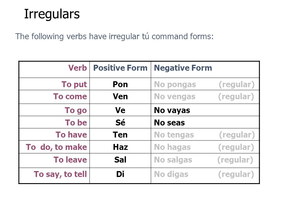 Irregulars The following verbs have irregular tú command forms: Verb
