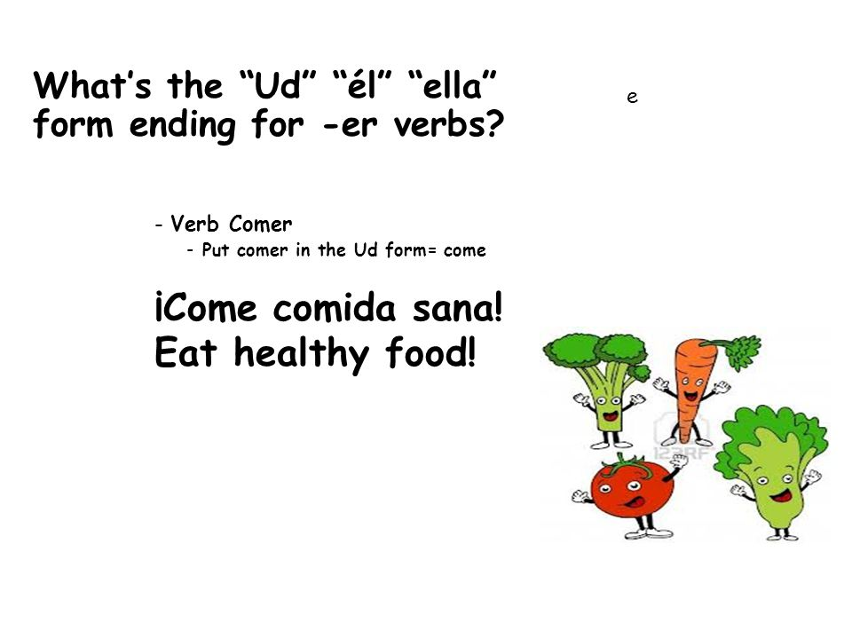What's the Ud él ella form ending for -er verbs