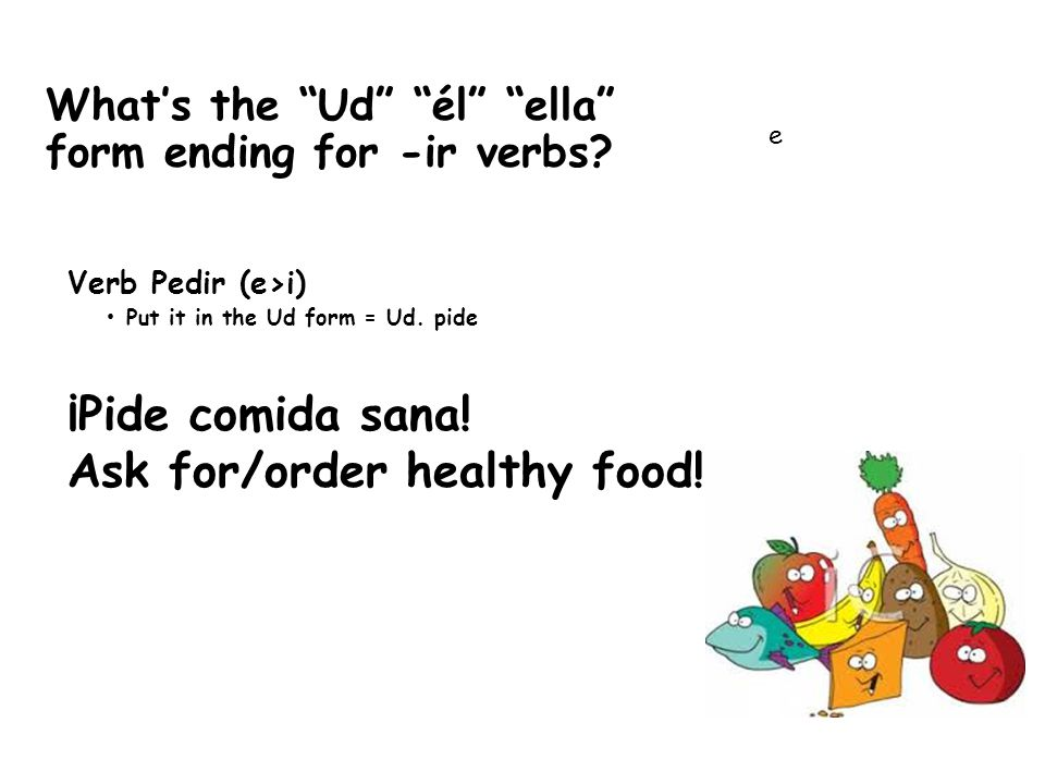 What's the Ud él ella form ending for -ir verbs