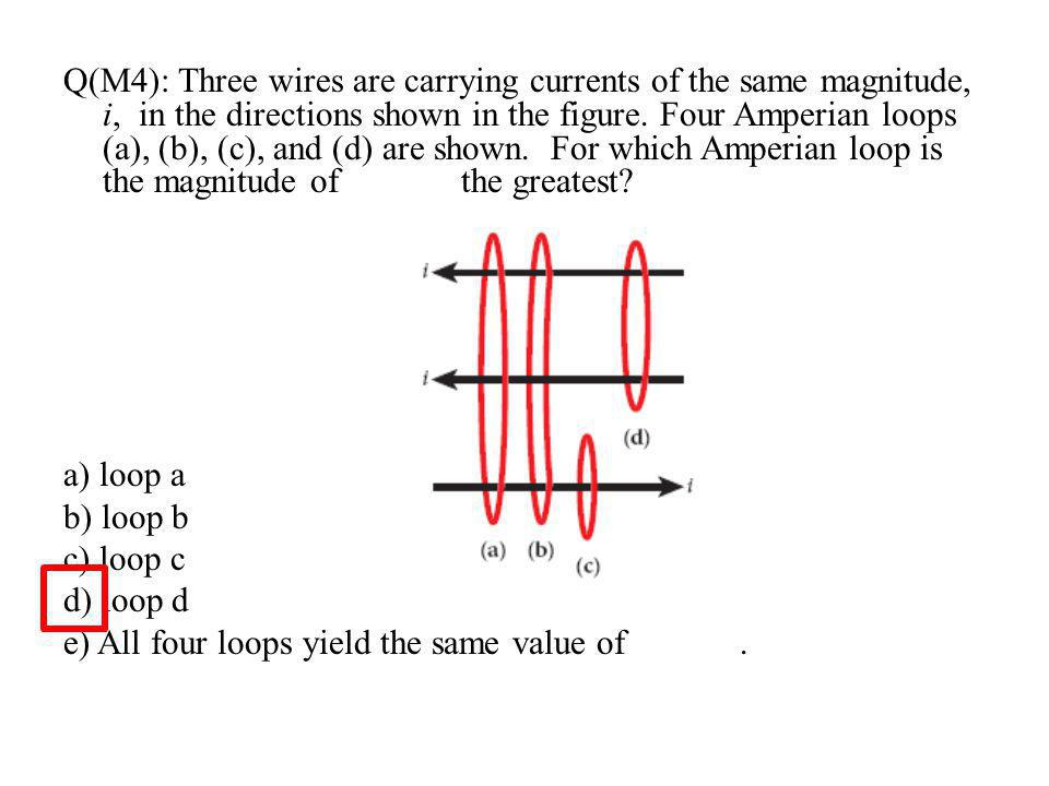 Q(M4): Three wires are carrying currents of the same magnitude, i, in the directions shown in the figure. Four Amperian loops (a), (b), (c), and (d) are shown. For which Amperian loop is the magnitude of the greatest