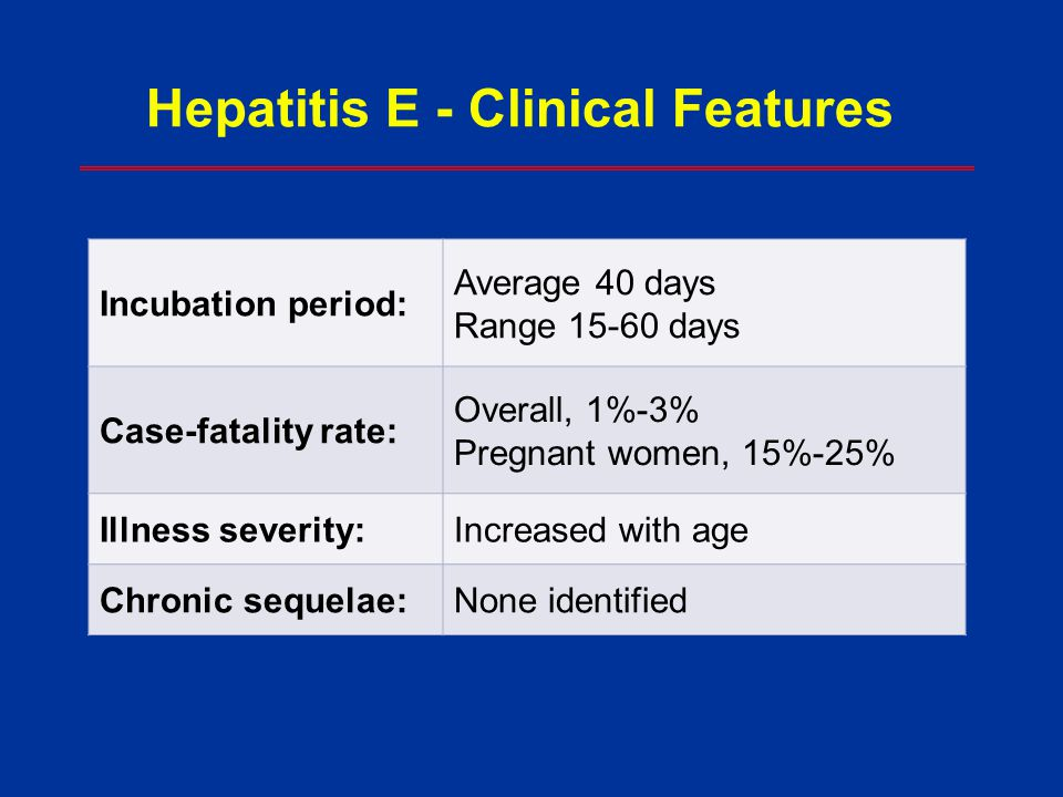 Hepatitis E - Clinical Features