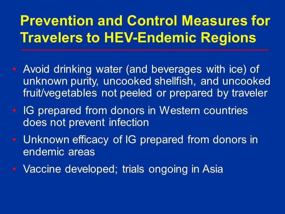 Prevention and Control Measures for Travelers to HEV-Endemic Regions