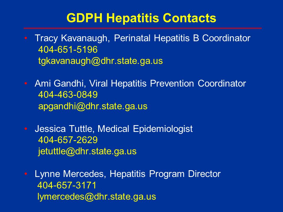 GDPH Hepatitis Contacts