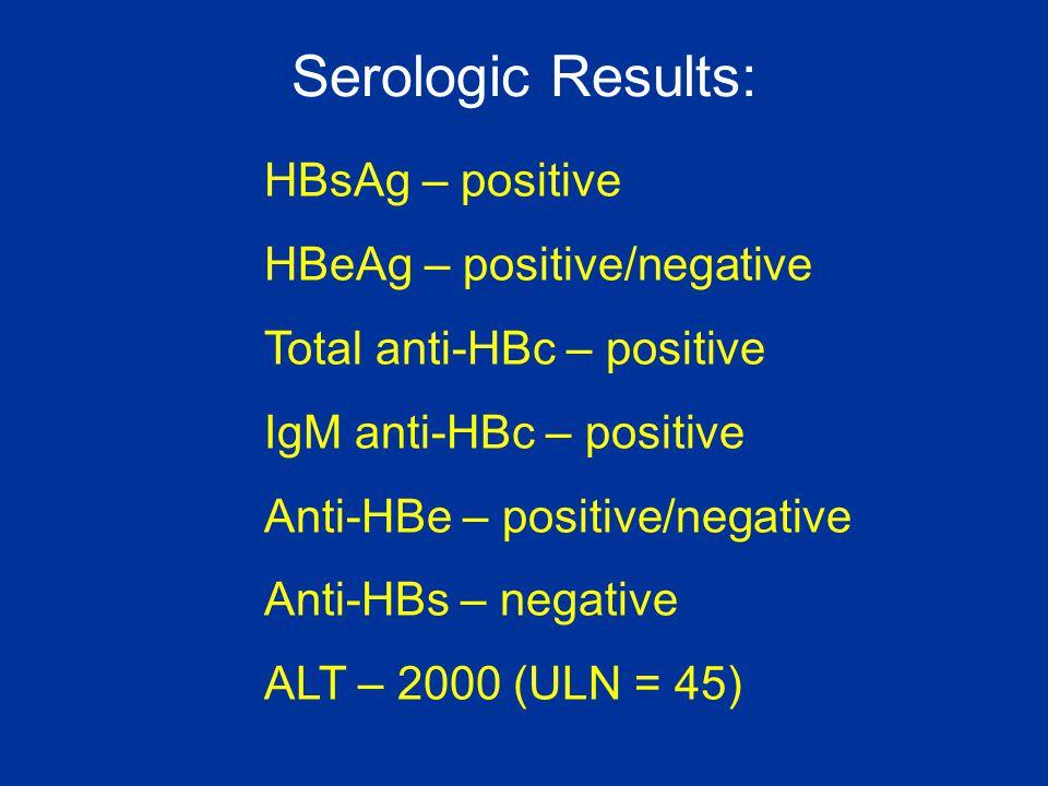 Serologic Results: HBsAg – positive HBeAg – positive/negative
