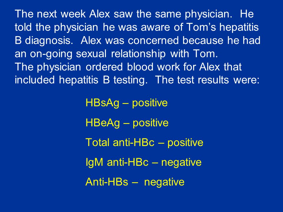 The next week Alex saw the same physician