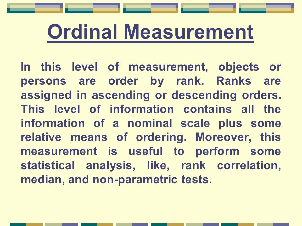 Ordinal Measurement