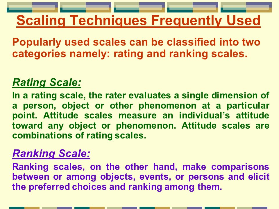 Scaling Techniques Frequently Used