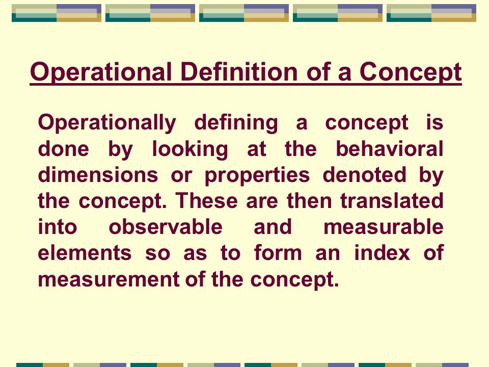 Operational Definition of a Concept