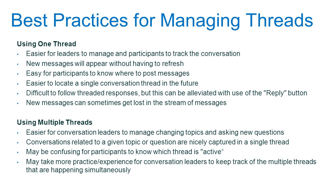Best Practices for Managing Threads