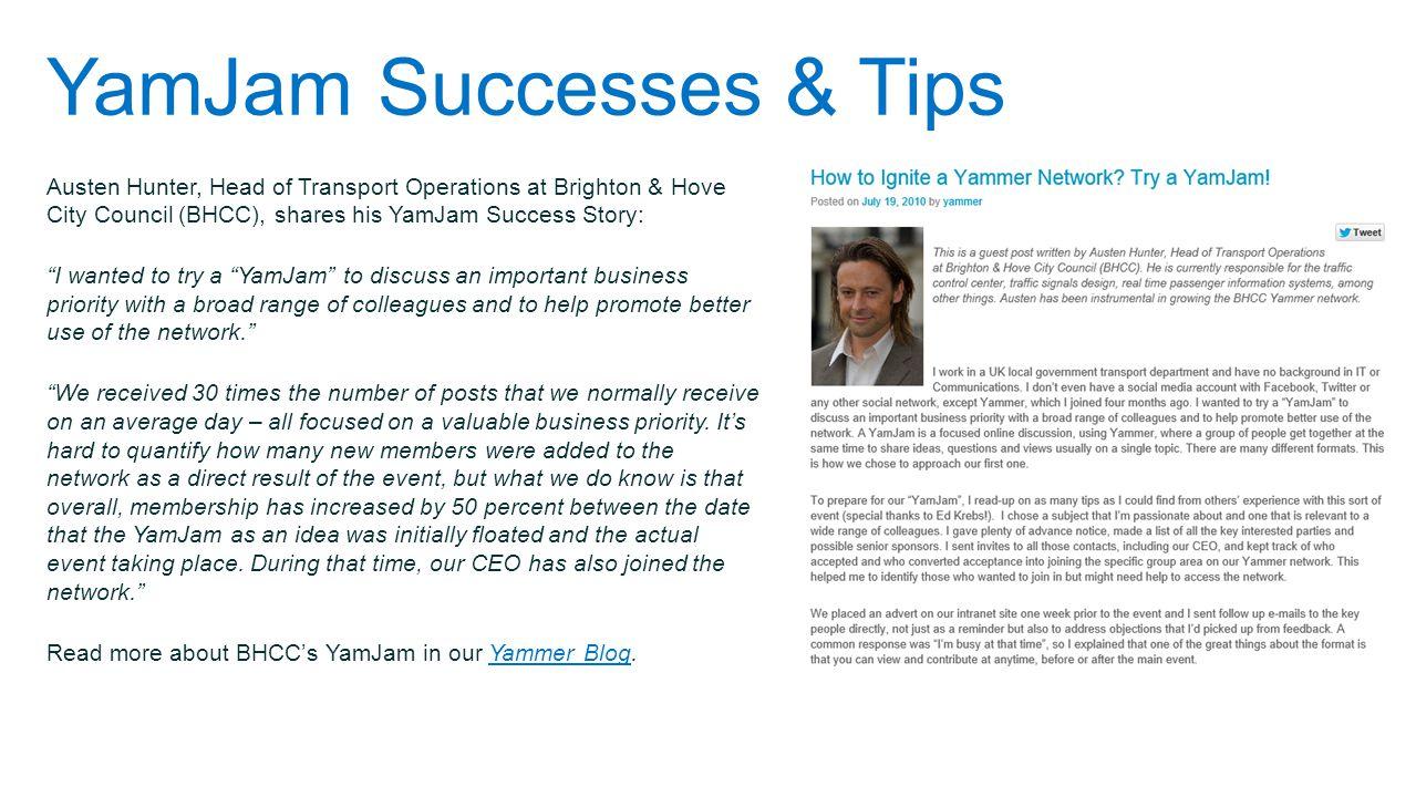 YamJam Successes & Tips