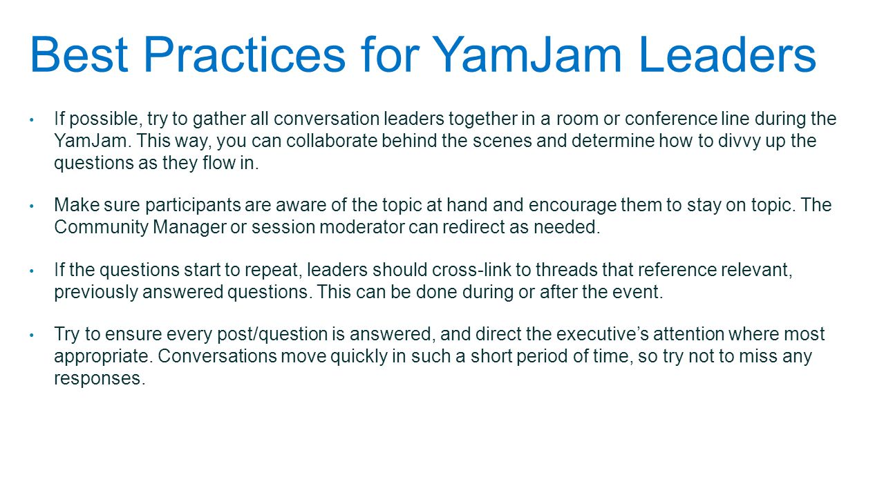 Best Practices for YamJam Leaders