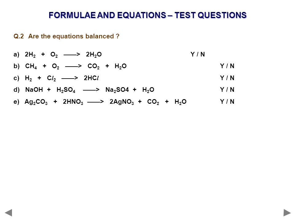 FORMULAE AND EQUATIONS – TEST QUESTIONS