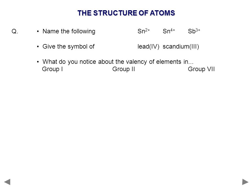 THE STRUCTURE OF ATOMS Q. • Name the following Sn2+ Sn4+ Sb3+