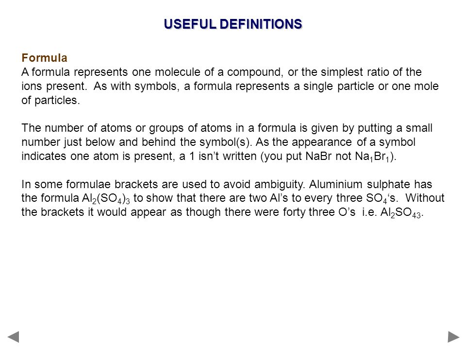 USEFUL DEFINITIONS Formula