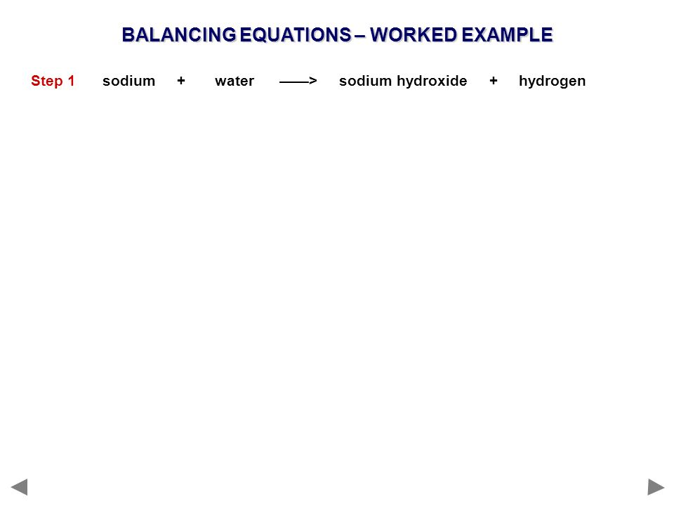 BALANCING EQUATIONS – WORKED EXAMPLE