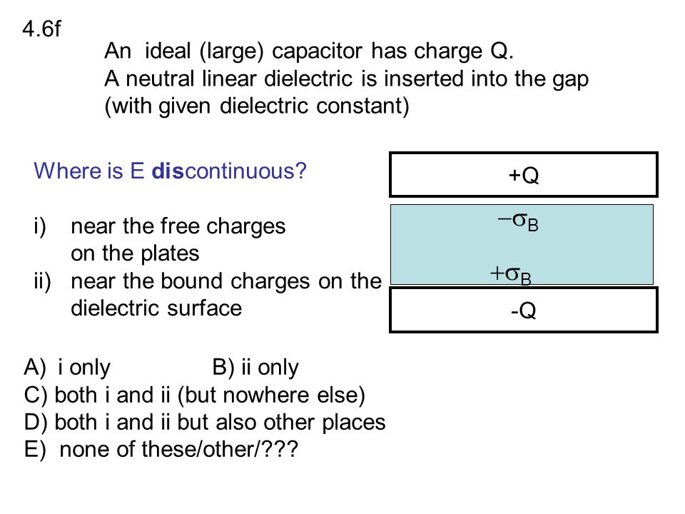 4.6f An ideal (large) capacitor has charge Q. A neutral linear dielectric is inserted into the gap (with given dielectric constant)