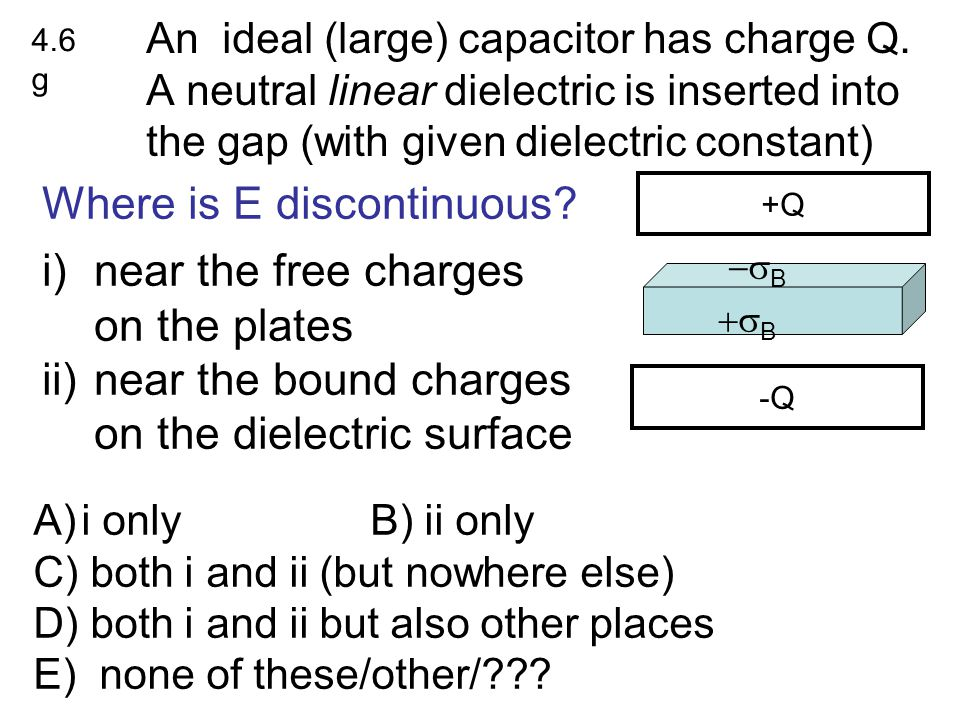 Where is E discontinuous near the free charges on the plates