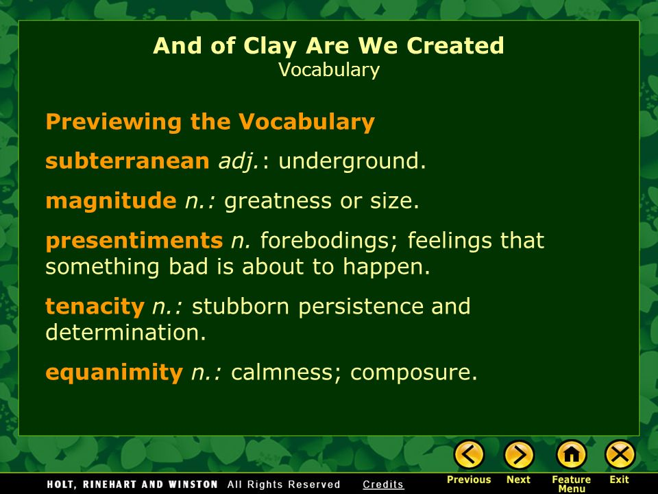 And of Clay Are We Created Vocabulary